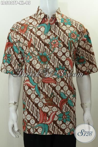 Baju Hem Batik Parang Bunga Proses Printing Yang Bikin Pria Tampil Menawan, Pakaian Batik Berkelas Bahan Adem Kwalitas Bagus Harga Di Bawah 100 Ribuan, Size XL