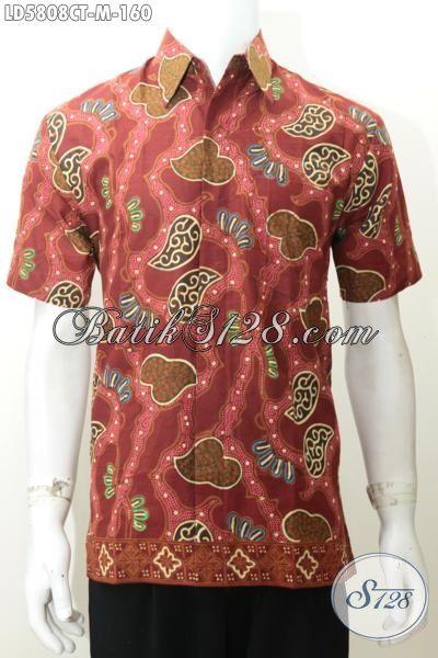 Baju Kemeja Batik Lengan Pendek Keren Motif Unik Nan Modis, Pakaian Batik Cap Tulis Warna Merah Untuk Cowok Terlihat Kece, Size M