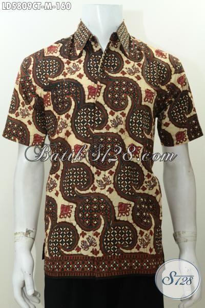 Baju Hem Batik Lengan Pendek Elegan Motif Terbaru Proses Cap Tulis, Pakaian Batik Keren Buatan Solo Buat Lelaki Muda Tampil Lebih Stylish [LD5809CT-M]