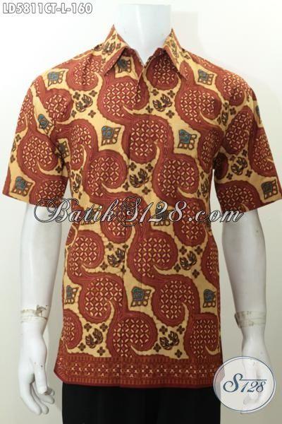 Kemeja Batik Pria Ukuran L, Hem Batik Halus Lengan Pendek Dengan Desain Motif Yang Atraktif Proes Cap Tulis Yang Menambah Penampilan Pria Lebih Menawan