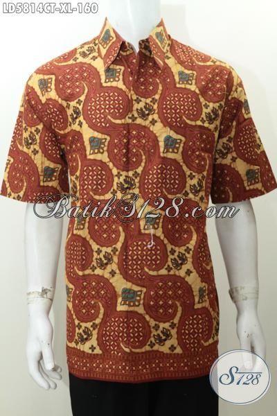 Kemeja Batik Keren Halus Kwalitas Istimewa, Busana Batik Lengan Pendek Proses Cap Tulis Motif Unik Pria Terlihat Modis, Size XL