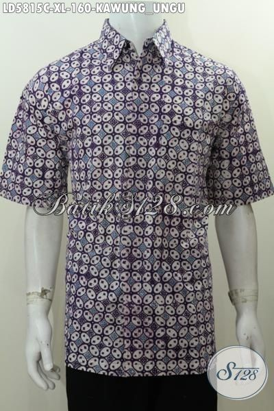 Jual Online Hem Batik Motif Kawung Lengan Pendek Proses Cap, Pakaian Batik Keren Bahan Adem Warna Bagus Cocok Buat Jalan-Jalan, Size XL
