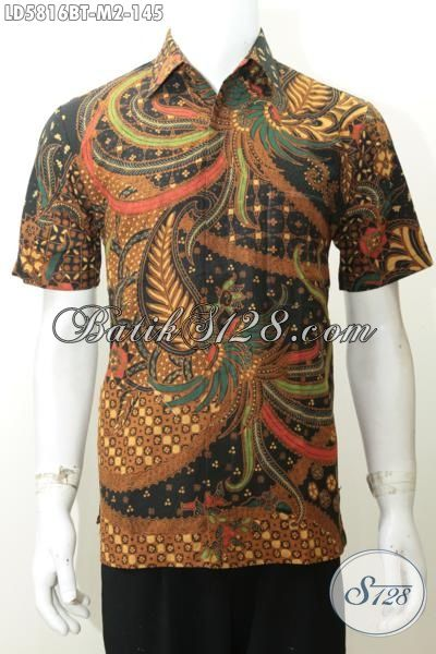 Hem Batik Elegan Motif Mewah Berbahan Adem Proses Kombinasi Tulis, Jual Online Busana Batik Istimewa Buatan Solo Model Lengan Pendek Cocok Buat Kondangan, Size M