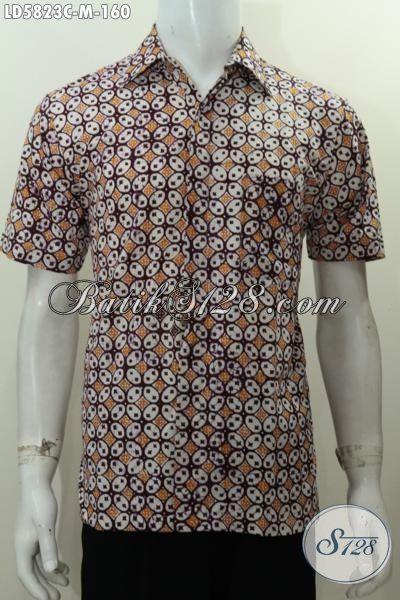 Baju Hem Batik Motif Kawung Berbahan Halus Proses Cap, Baju Batik Trendy Untuk Pria Muda Bikin Penampilan Terlihat Tampan Maksimal [LD5823C-M]