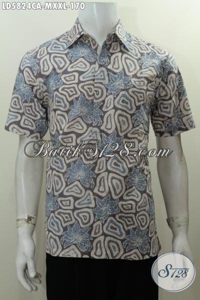Hem Batik Warna Kalem Kwalita Bagus Proses Cap Warna Alam, Pakaian Batik Lengan Pendek Motif Unik Dari Solo Elegan Untuk Seragam Kerja, Size XXL