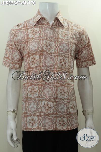 Jual Kemeja Batik Warna Pastel Motif Unik Nan Elegan, Pakaian Batik Cap Warna Alam Modis Berkelas Utuk Lelaki Muda Masa Kini Terlihat Berkelas, Size M