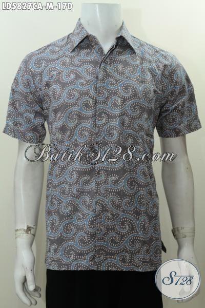Kemeja Keren Bahan Kwalitas Bagus Motif Unik, Baju Batik Lengan Pendek Proses Cap Warna Alam Produk Terkini Dari Jawa Tengah Buat Lelaki Yang Ingin Tampil Trendy, Size M