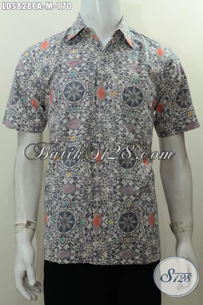 Produk Pakaian Batik Cowok Terkini, Baju Batik Lengan Pendek Motif Unik Berbahan Halus Proses Cap Warna Alam, Size M
