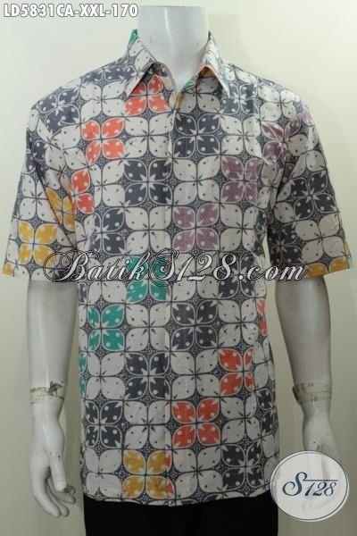 Hem Batik Modern Dengan Motif Keren Berpadu Kombinasi Warna Unik Yang Bikin Tambah Menarik, Baju Batik Lengan Pendek 3L Proses Cap Warna Alam Untuk Cowok Gemuk Tampil Stylish, Size XXL