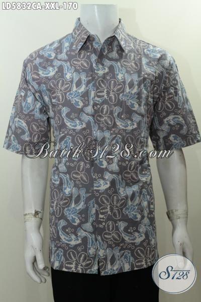 Baju Kemeja Lengan Pendek 3L, Busana Batik Elegan Berkelas Berbahan Adem Trend Masa Kini Proses Cap Warna Alam Spesial Buat Cowok Gemuk, Size XXL