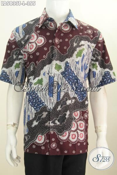 Baju Kemeja Batik Modis Motif Keren, Busana Batik Kwalitas Bagus Model Lengan Pendek Tidak Pakai Furing, Batik Hem Halus Proses Tulis Asli Buatan Solo [LD5833T-L]