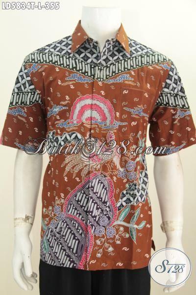 Hem Batik Tulis Elegan Lengan Pendek Motif Mewah Daleman Tanpa Furing, Baju Batik Modis Buatan Solo Untuk Pria Karir Tampil Lebih Bergaya, Size L