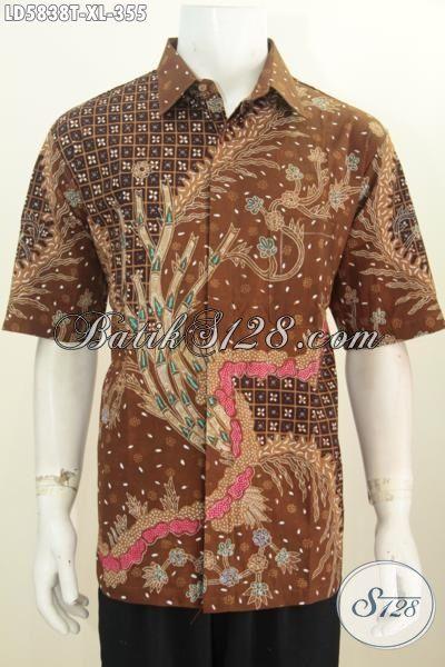 Kemeja Batik Elegan Lengan Pendek Kwalitas Premium, Busana Batik Halus Modis Proses Tulis Daleman Tanpa Furing Ukuran XL