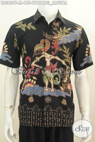 Hem Batik Tulis Dasar Hitam Elegan Motif Wayang Arjuna, Pakaian Batik Modern Keren Bahan Adem Yang Bikin Cowok Terlihat Macho, Size M