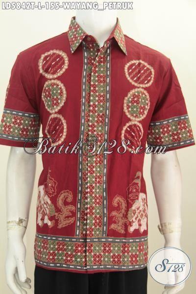Hem Batik Trendy Warna Merah Motif Wayang Petruk, Baju Batik Gaul Pria Muda Dan Dewasa Proses Tulis Model Lengan Pendek Tanpa Furing Untuk Penampilan Lebih Gagah, Size L