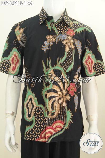 Baju Batik Lengan Pendek Modis Dan Istimewa, Busana Batik Trendy Dasar Hitam Motif Unik Proses Tulis Daleman Tidak Pakai Furing, Size L