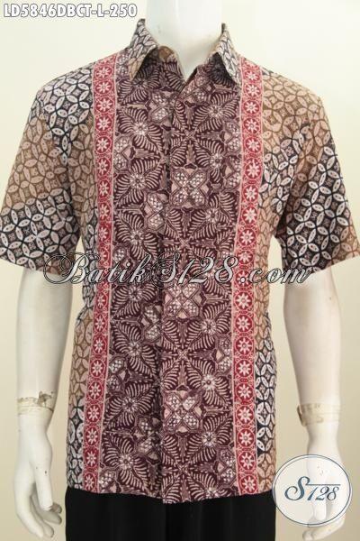 Hem Batik Kwalitas Premium Berbahan Kain Doby, Baju Batik Cap Tulis Motif Unik Bikin Penampilan Terlihat Mewah, Busana Batik Lengan Pendek Trendy Asli Buatan Solo Size L