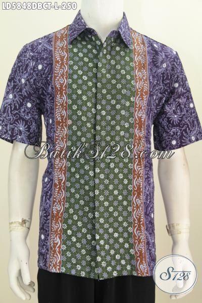 Hem Kemeja Batik Istimewa Berbahan Kain Dolby Kwalitas Lembut, Produk Baju Batik Lengan Pendk Cap Tulis Motif Berkelas Bikin Penampilan Lebih Modis, Size L