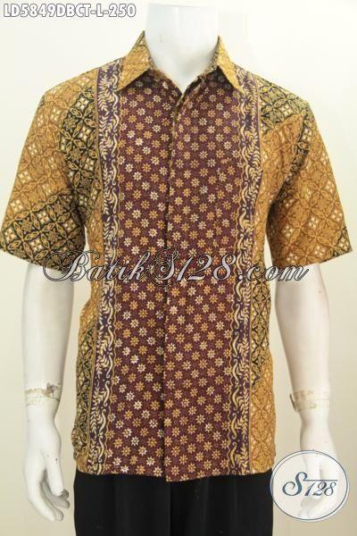 Kemeja Batik Lengan Pendek Modis Dan Halus Motif Elegan, Pakaian Batik Cowok Bahan Doby Kwalitas Istimewa Harga Terjangkau, Size L
