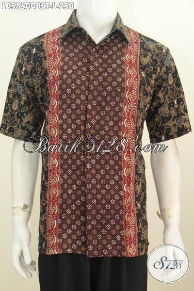 Batik Hem Bagus Bahan Adem Untuk Lelaki Dewasa, Pakaian Batik Lengan Pendek Trend Masa Kini Berbahan Kain Doby Motif Kombinasi Tampil Lebih Gaya, Size L