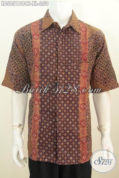 Hem Batik Pria Lengan Pendek Size XL, Baju Batik Halus Berbahan Dolby, Pakaian Batik Solo Proses Cap Tulis Motif Trendy Banget