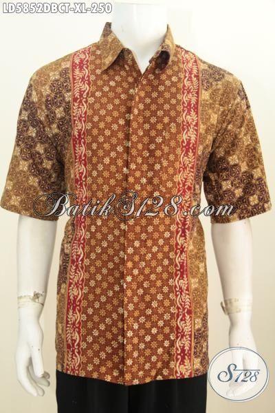 Hem Batik Modis Motif Kombinasi Proses Cap Tulis, Baju Batik Berbahan Kain Dolby Model Lengan Pendek Cocok Untuk Kerja Kantoran, Size XL
