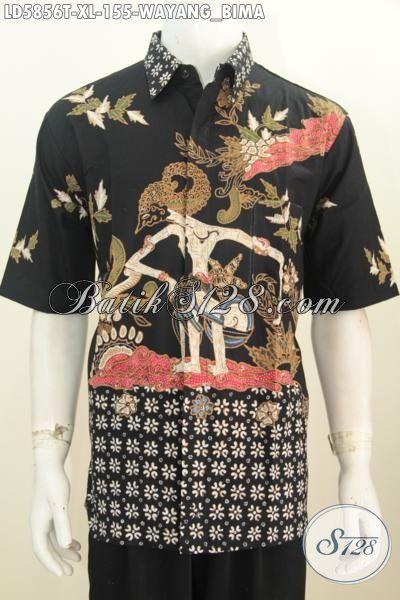 Baju Kemeja Batik Proses Tulis Kwalitas Halus Motif Wayang Bima, Produk Baju Batik Keren Istimewa Untuk Penampilan Lebih Gagah Dan Berwibawa, Size XL