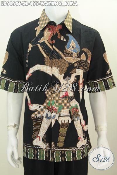 Hem Batik Paling Keren Saat Ini, Baju Batik Wayang Motif Bima Model Lengan Pendek Proses Tulis Daleman Tidak Pakai Furing Size XL Penampilan Lebih Berwibawa