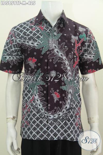 Hem Batik Tulis Kwalitas Premium, Baju Batik Solo Istimewa Motif Bagus Berbahan Adem Model Lengan Pendek Pakai Furing Untuk Tampil Lebih Mewah [LD5859TF-M]