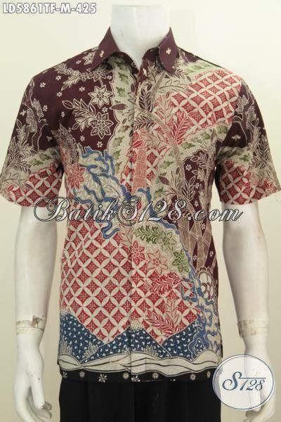 Pakaian Batik Modern Kwalitas Istimewa Model Lengan Pendek, Baju Batik Tulis Premium Lelaki Muda Untuk Tampil Makin Mempesona, Size M