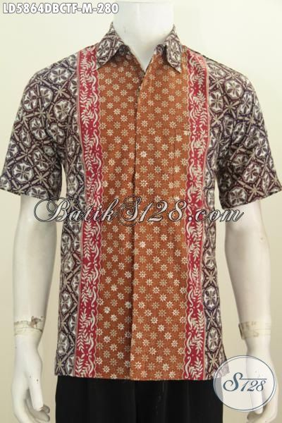 Baju Kemeja Batik Elegan Mewah Motif Kombinasi, Hem Batik Cap Tulis Lengan Pendek Bahan Kain Dolby Istimewa Lebih Halus Dan Nyaman Di Pakai, Size M