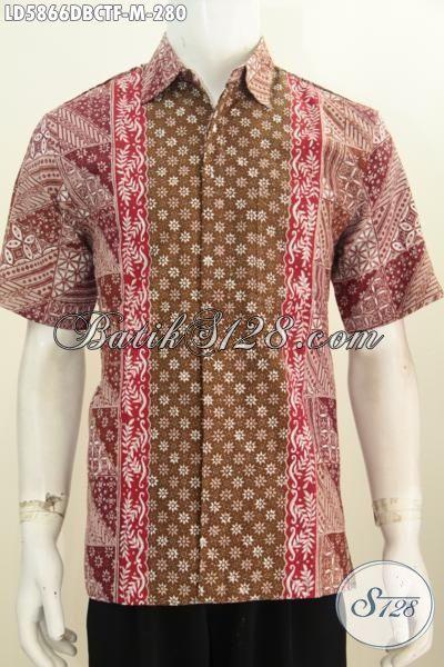 Hem Batik Halus Lengan Pendek Bahan Kain Doby, Baju Batik Istimewa Khas Jawa Tengah Daleman Full Furing Bahan Adem, Size M