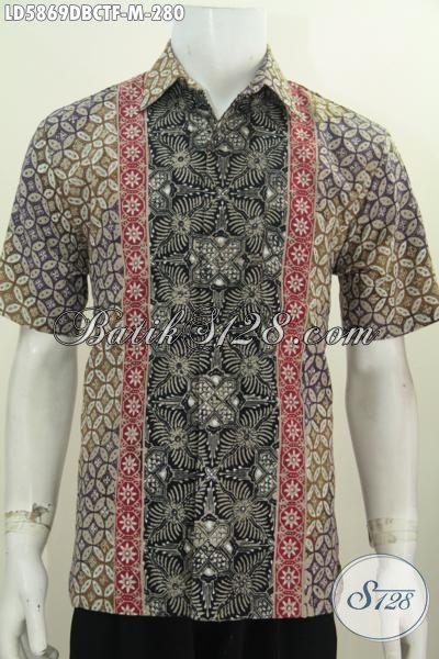 Hem Batik Modern Classic Bahan Halus Kain Dolby, Kemeja Batik Elegan Berkelas Proses Cap Tulis Legan Pendek Pakaia Furing Tampil Lebih Istimewa, Size M