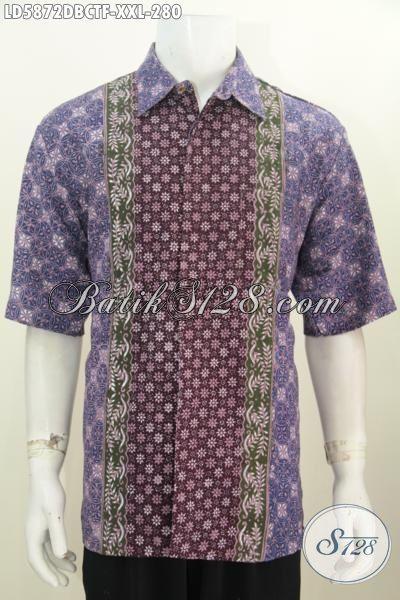 Baju Hem Batik Ungu Lengan Pendek Modis Berkelas, Busana Batik Modern Ukuran Jumbo Kwalitas Istimewa Untuk Penampilan Lebih Gaya, Size XXL