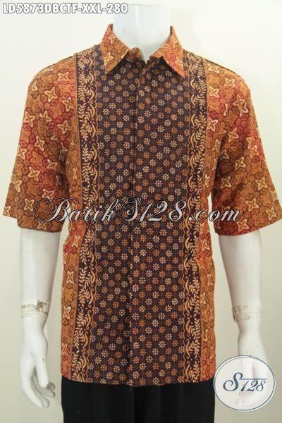 Hem Batik Lengan Pendek Bagus Elegan Daleman Full Furing, Pakaian Batik Bahan Dolby Halus Size XXL Cowok gemuk Tampil Modis