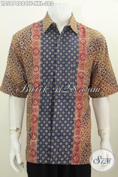 Kemeja Batik Modis Lengan Pendek Keren Size XXL, Baju Batik 3L Bahan Kain Dolby Lengan Pendek Daleman Full Furing Lebih Mewah
