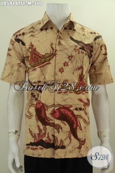 Baju Hem Batik Tulis Soga Motif Kapal Dan Ikan, Pakaian Batik Trendy Warna Etnik Bikin Pria Tampil Modis Dan Elegan, Size M