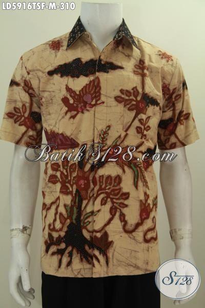 Hem Batik Keren Motif Tananam Bunga, Baju Batik Halus Lengan Pendek Tulis Soga Full Furing Yang Membuat Cowok Terlihat Tampan Dan Keren, Size M