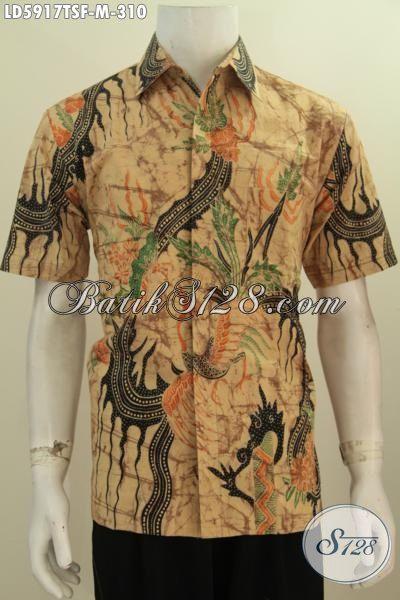 Jual Online Hem Batik Modis Lengan Pendek Motif Terbaru Proses Tulis Soga, Baju Kemeja Batik Full Furing Yang Keren Untuk Hangout Serta Modis Buat Kerja, Size M