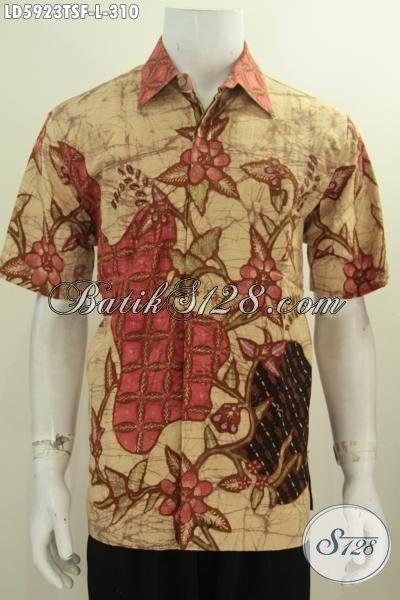 Jual Online Pakaian Batik Modern Motif Trendy Model Lengan Pendek, Baju Batik Istimewa Buatan Solo Tulis Soga Daleman Pakai Furing, Size L