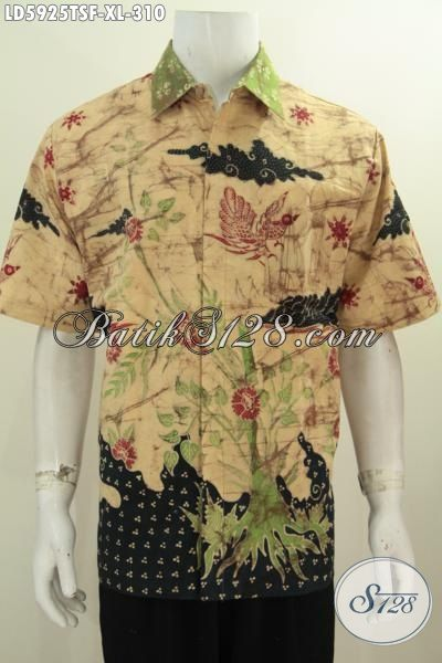 Hem Batik Pria Ukuran XL, Pakaian Batik Halus Motif Trendy Buatan Solo Model Lengan Pendek Full Furing Bahan Adem Kwalitas Istimewa, Modis Untuk Kerja Dan Acara Santai [LD5925TSF-XL]