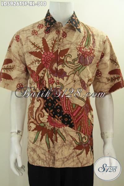 Hem Batik Kerja Pria Dewasa Karir Aktif, Produk Busana Batik Lengan Pendek Full Furing Bahan Adem Kwalitas Istimewa Untuk Tampil Lebih Mempesona, Size XL