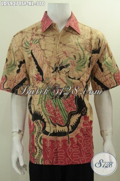 Jual Online Pakaian Batik Pria Size XL, Busana Batik Lengan Pendek Halus Full Furing Bahan Adem Proses Tulis Soga Motif Modern Tampil Lebih Percaya Diri
