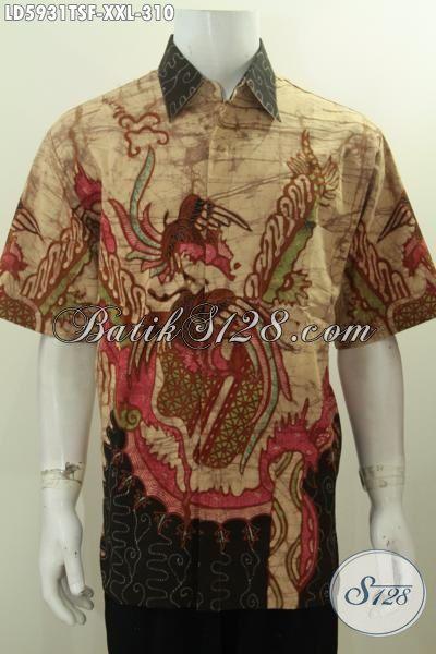 Baju Batik Solo Kwalitas Premium Ukuran Jumbo, Busana Batik Elegan Motif Keren Proses Tulis Soga Full Furing Nan Mewah Buatan Solo Untuk Pria Gemuk Terlihat Langsing Dan Gagah [LD5931TSF-XXL]