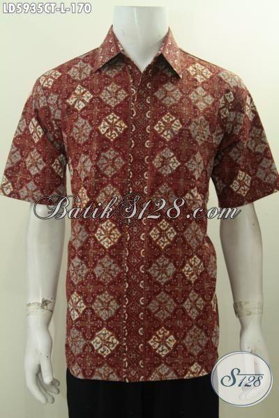 Agen Baju Batik Solo Online Jual Baju Batik Lengan Pendek Desain Dan Motif Paling Keren Ukuran L Proses Cap Tulis, Cocok Buat Pria Muda Untuk Penampilan Lebih Gaya