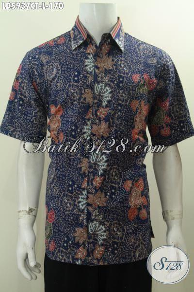 Hem Batik Gaul Warna Biru, Produk Baju Batik Cowok Terkini Berbahan Halus Motif Bunga Proses Cap Tulis, Di Jual Online Harga 170 Ribu, Size L