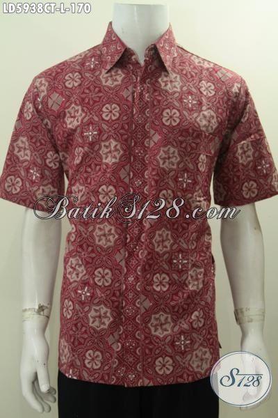 Hem Batik Merah Motif Tebaru Khas Kawula Muda, Baju Batik Trendy Lengan Pendek Istimewa Buatan Solo Proses Cap Tulis Modis Buat Ke Kantor, Size L