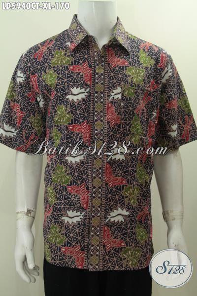 Hem Batik Modern Size XL, Pakaian Batik Modis Motif Tekini Yang Membuat Penampilan Lebih Stylish, Berbahan Halus Proses Cap Tulis Di Jual Onine Harga Grosir
