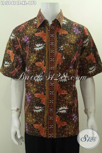 Hem Batik Trendy Cowok Masa Kini, Baju Batik Keren Motif Unik Proses Cap Tulis Untuk Tampil Gaul Dan Gaya, Size XL