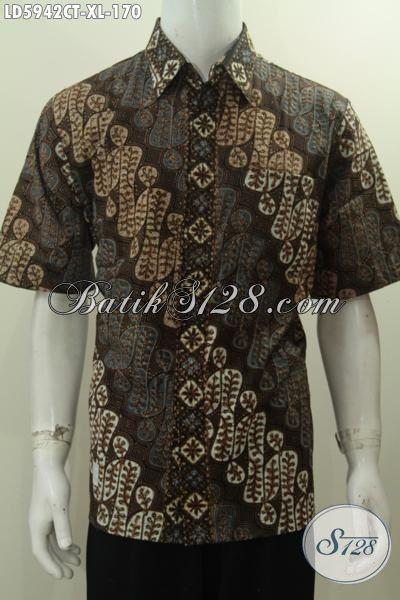 Hem Batik Elegan Motif Parang Proses Cap Tulis, Kemeja Batik Halus Buatan Solo Untuk Tampil Gagah Berwibawa, Size XL